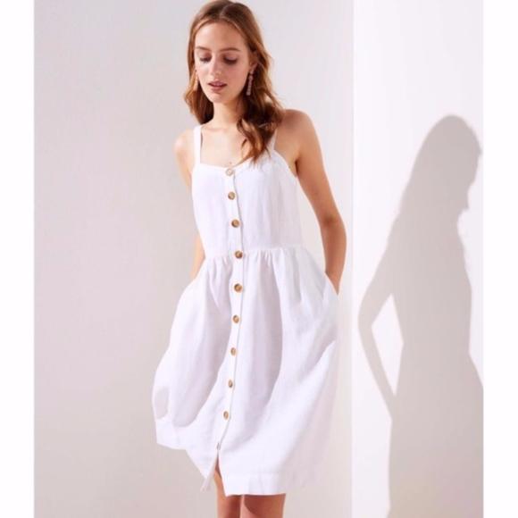 0e47a27e50 NWT LOFT White Linen Button Down Dress